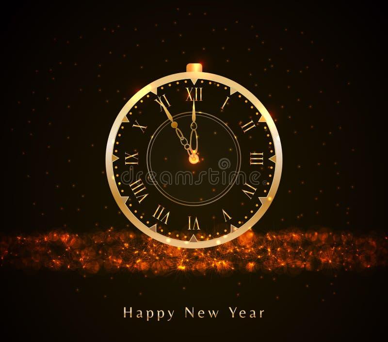 De gelukkige Nieuwjaarachtergrond met gouden uitstekende klok, schittert licht, fonkelingen, bokeh en tekst De banner van het vak vector illustratie