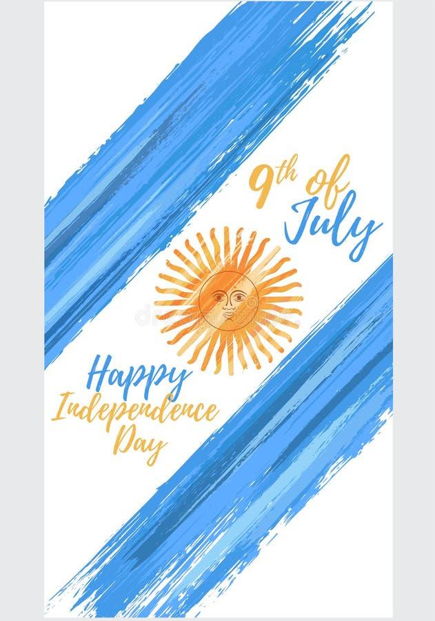 De gelukkige onafhankelijkheid van Argentinië dag negende van Juli royalty-vrije illustratie