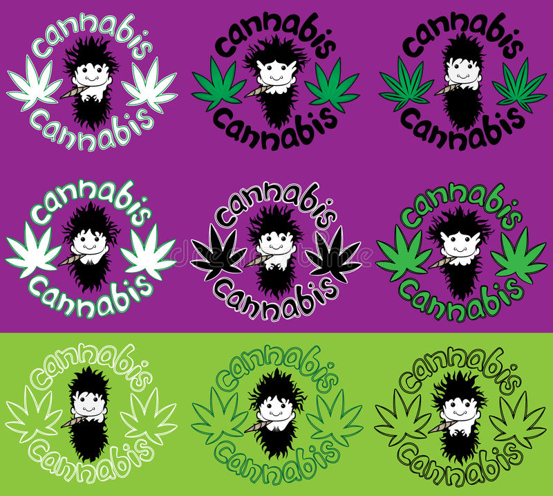 De gelukkige ontspannen rastafarian verbinding van de kerel rokende marihuana met de decoratieillustratie van het cannabisblad stock illustratie
