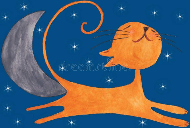 De gelukkige oranje kat op hemel in de nacht vector illustratie