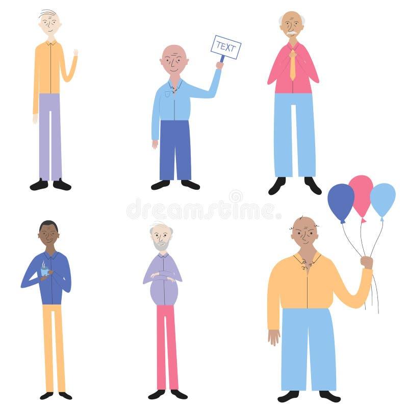 De gelukkige oude mensen die zich in verschillend bevinden stellen Vectortekening van gelukkige oude mensen Reeks bejaarden Vlakk stock illustratie