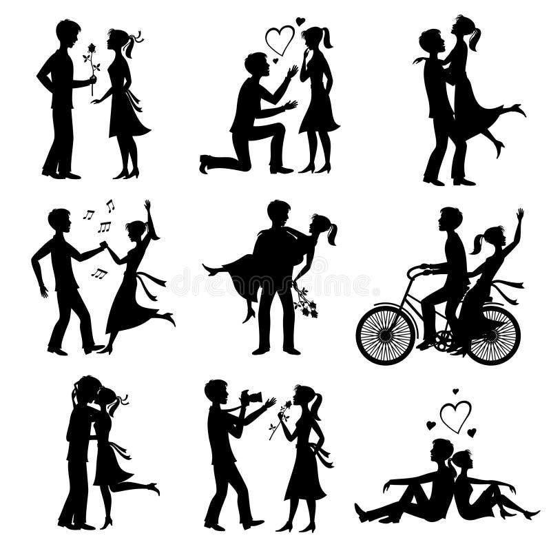 De gelukkige paren in liefde huwden bruid en bruidegom enkel vector zwarte silhouetten stock illustratie