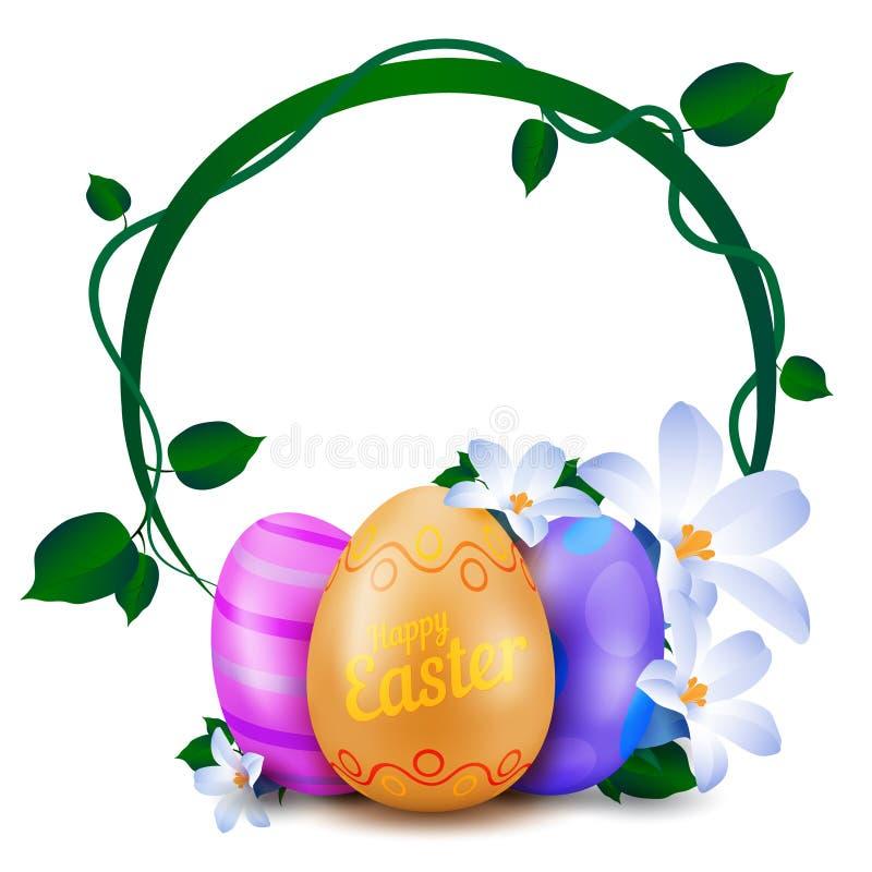 De gelukkige Pasen-groetkaart met rond kader van geschilderde eieren en de lente bloeit stock illustratie