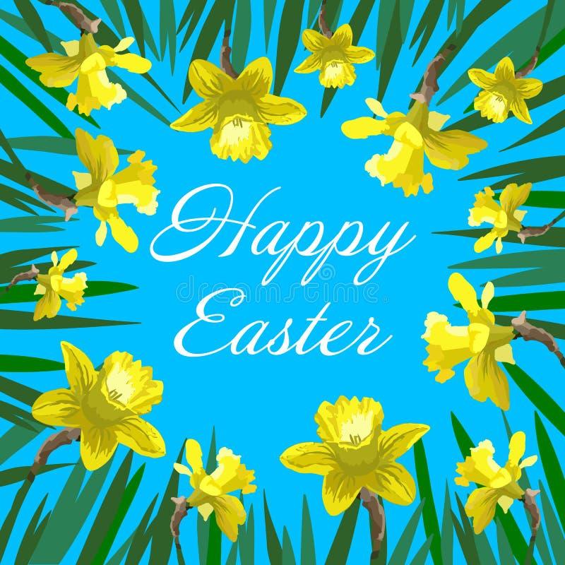 De gelukkige Pasen-kaart met gele narcissen kan als uitnodigingskaart voor huwelijk worden gebruikt vector illustratie