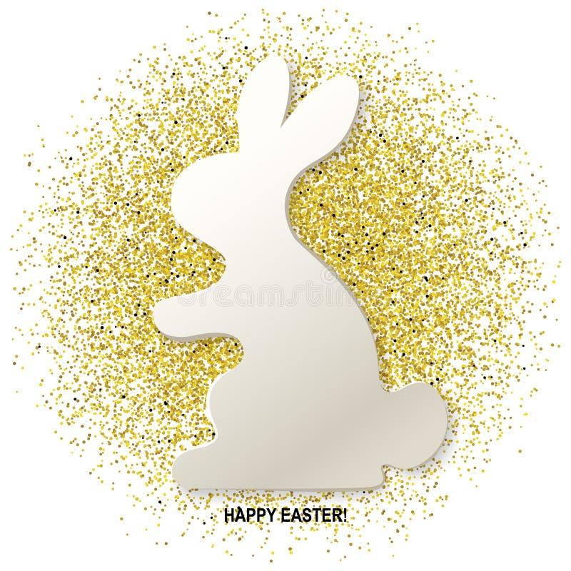De gelukkige Pasen-kaart met konijnsilhouet op het goud schittert achtergrond Vector illustratie stock illustratie