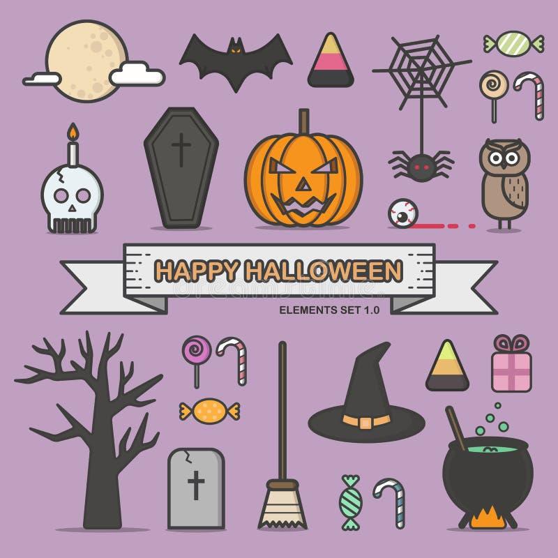 De gelukkige pictogrammen van de het ontwerplijn van Halloween vlakke geplaatst vectorillustratie stock illustratie