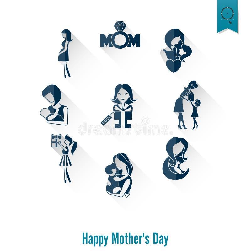 De gelukkige Pictogrammen van de Moedersdag stock illustratie