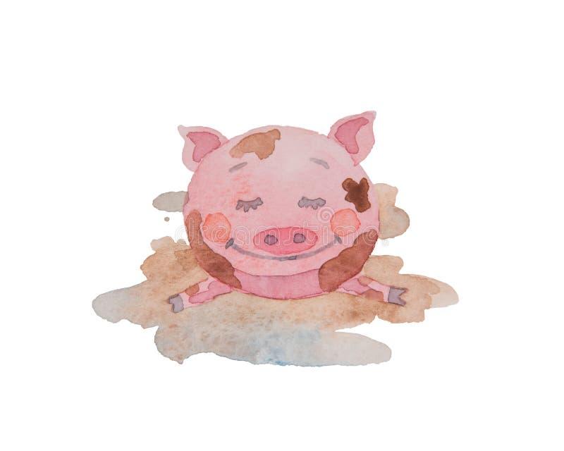 De gelukkige piggy getrokken waterverf ligt in een vuile vulklei op witte B vector illustratie