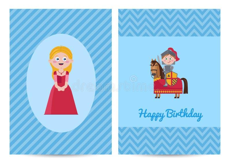 De gelukkige prentbriefkaar van verjaardagsjonge geitjes met prinses royalty-vrije illustratie