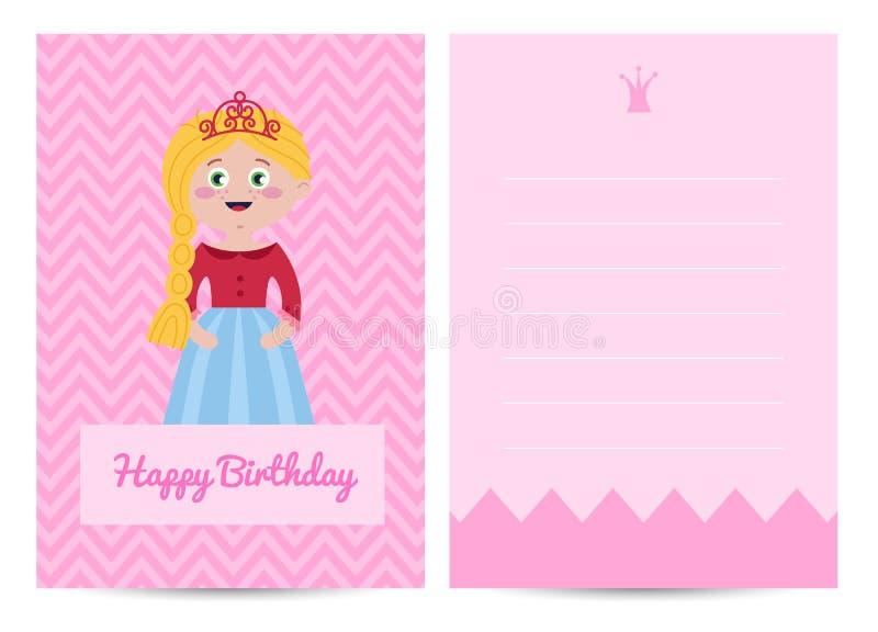 De gelukkige prentbriefkaar van verjaardagsjonge geitjes met prinses vector illustratie