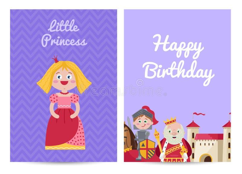 De gelukkige prentbriefkaar van verjaardagsjonge geitjes met prinses stock illustratie