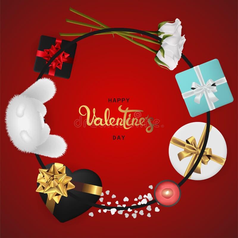De gelukkige realistische de bannervlakte van de valentijnskaartendag legt hoogste mening stock afbeelding