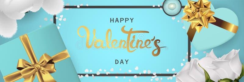 De gelukkige realistische horizontale de bannervlakte van de valentijnskaartendag legt hoogste mening stock afbeeldingen