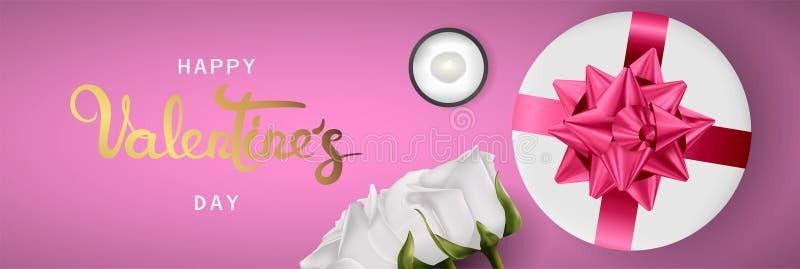 De gelukkige realistische horizontale de bannervlakte van de valentijnskaartendag legt hoogste mening vector illustratie