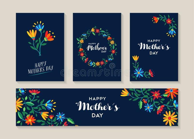 De gelukkige reeks van de moedersdag bloemetiketten en kaarten vector illustratie