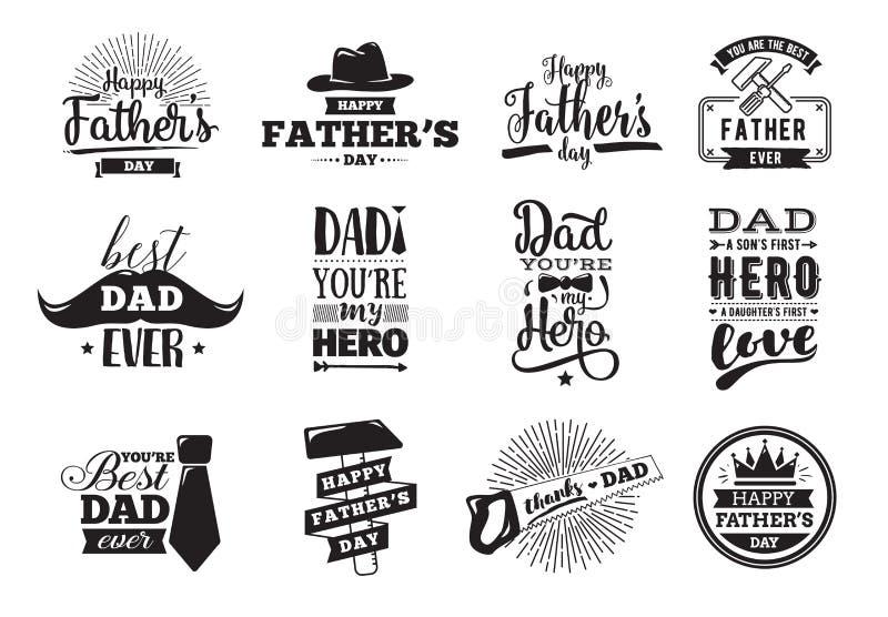 De gelukkige reeks van de vadersdag Vectortypografie stock illustratie