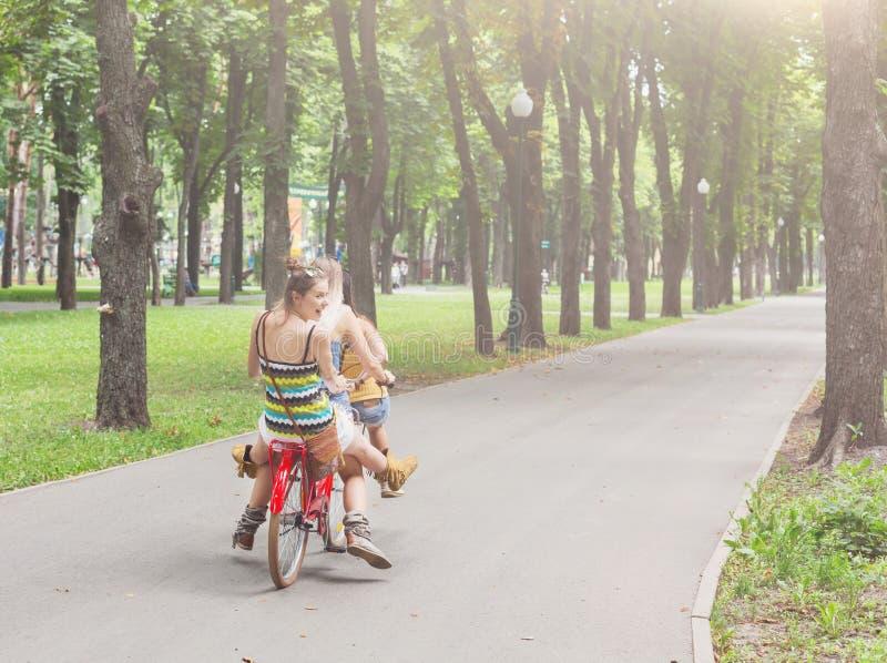 De gelukkige rit van boho elegante meisjes samen op fietsen in park stock afbeelding
