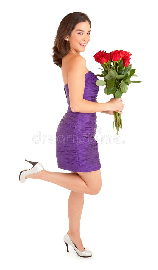 De gelukkige Rozen van de Holding van de Vrouw royalty-vrije stock fotografie