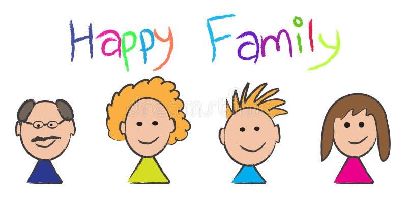 De gelukkige schets van het familieportret stock illustratie