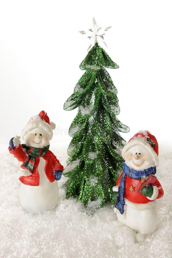 De gelukkige Sneeuwmannen van Kerstmis stock afbeelding