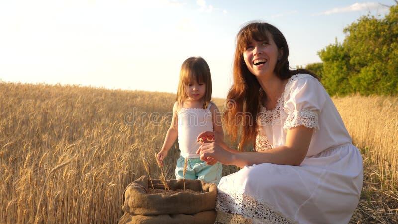 De gelukkige spelen van de moederlandbouwer met weinig zoon, dochter op het gebied de moeder en weinig kind spelen met korrel in  royalty-vrije stock afbeelding