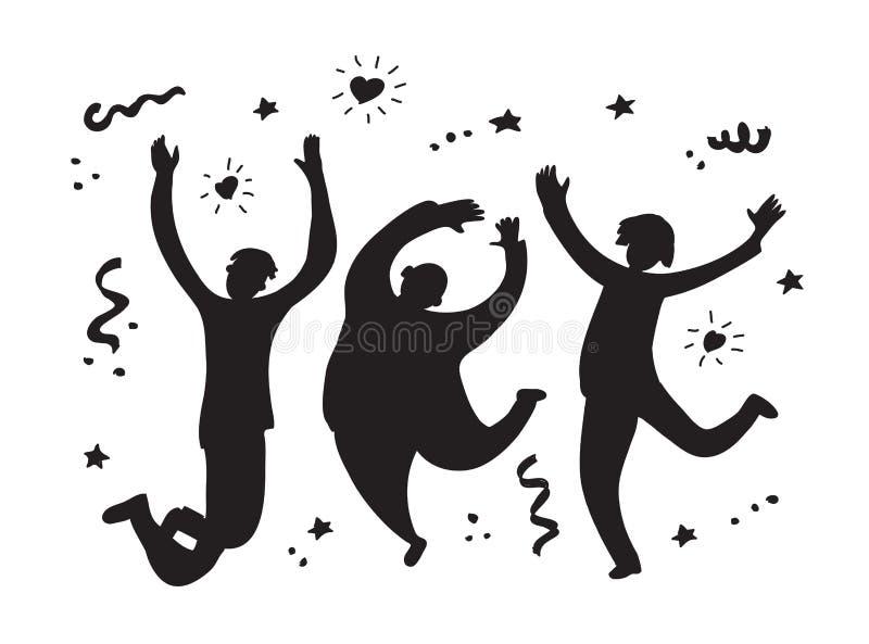 De gelukkige springende groepsmensen silhouetteren zwart-wit stock illustratie