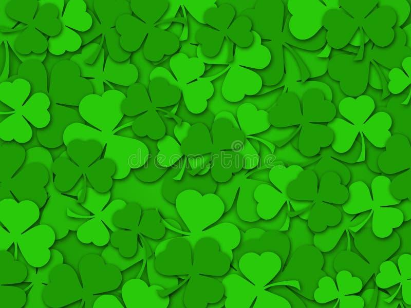 De gelukkige St Patrick Achtergrond van de Bladeren van de Klaver van de Dag royalty-vrije illustratie