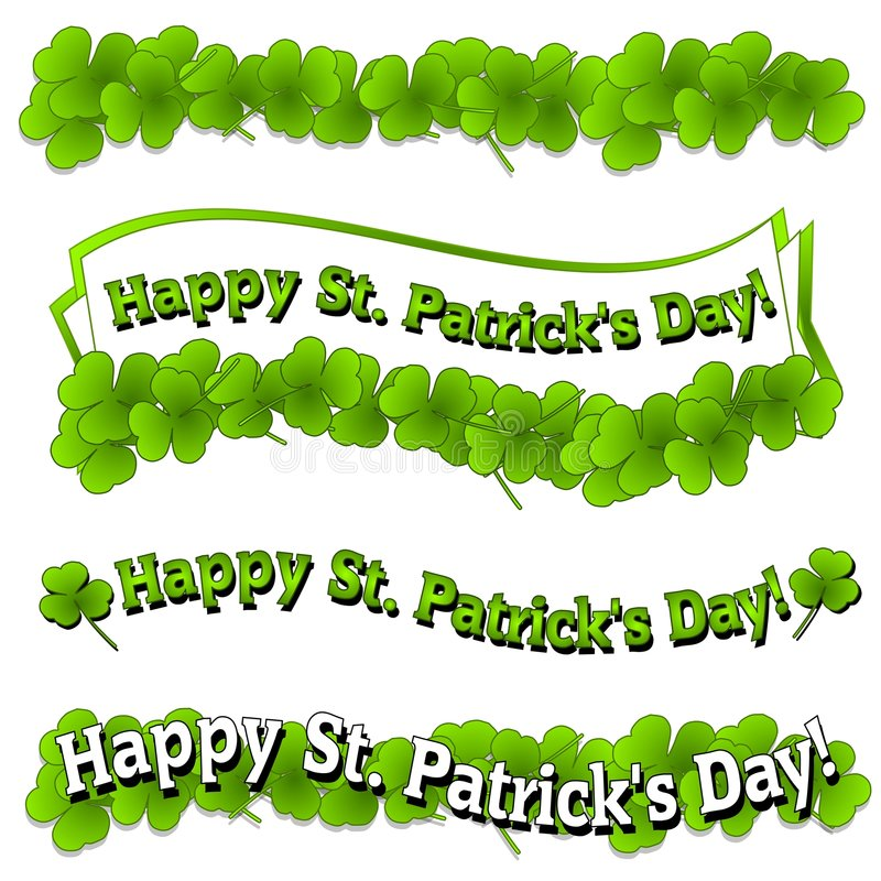 De gelukkige St. Patrick Emblemen van de Banners van de Dag royalty-vrije illustratie