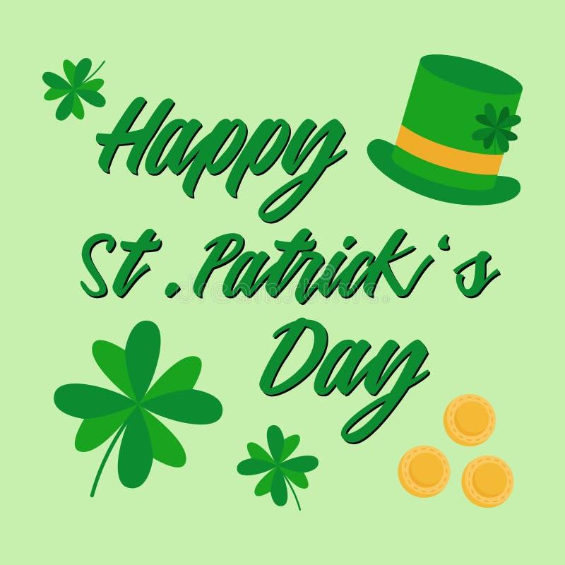 De gelukkige St Patrick ` s kaart van de Dag vectorgroet vector illustratie