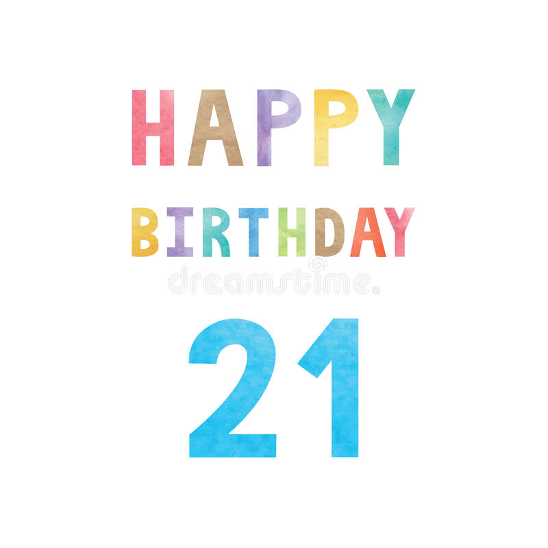 De gelukkige 21ste kaart van de verjaardagsverjaardag vector illustratie