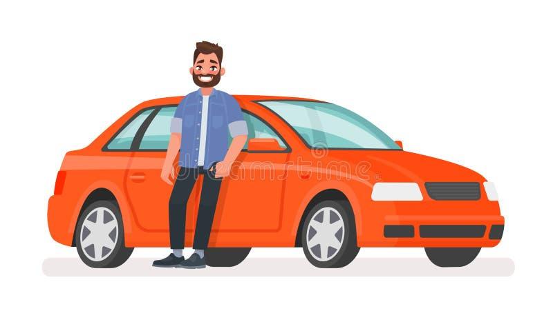 De gelukkige succesvolle mens bevindt zich naast een rode auto op een witte achtergrond vector illustratie