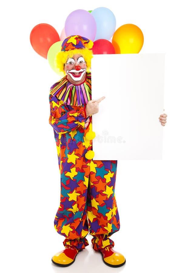 De gelukkige Te ondertekenen Punten van de Clown stock fotografie