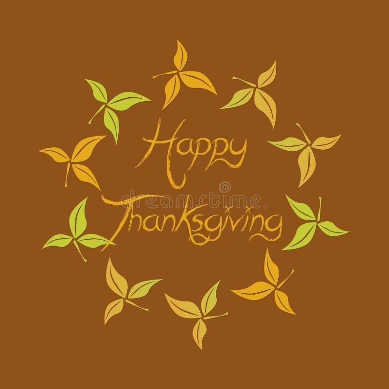 De gelukkige tekst van Dankzeggingsgroeten in een cirkel van bladeren vector illustratie