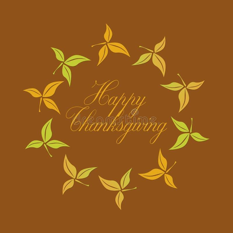 De gelukkige tekst van Dankzeggingsgroeten in een cirkel van bladeren stock illustratie