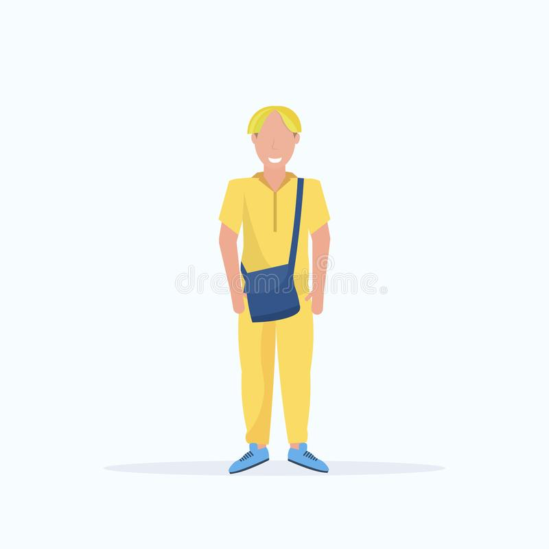 De gelukkige toevallige mens met geverft haar die stelt het glimlachen kerel die in kleren dragen houdend karakter van het handta stock illustratie