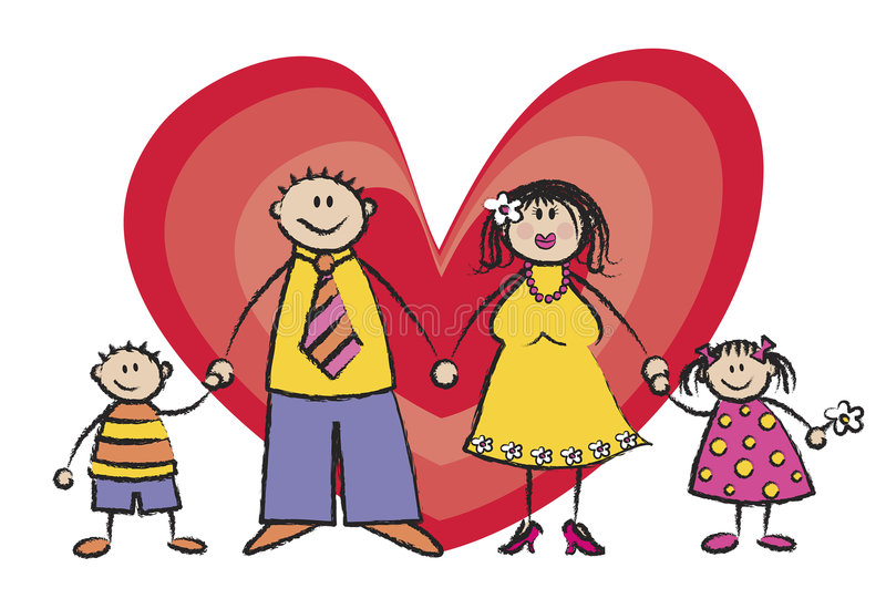 De gelukkige Toon van de Huid van de Familie Lichte vector illustratie
