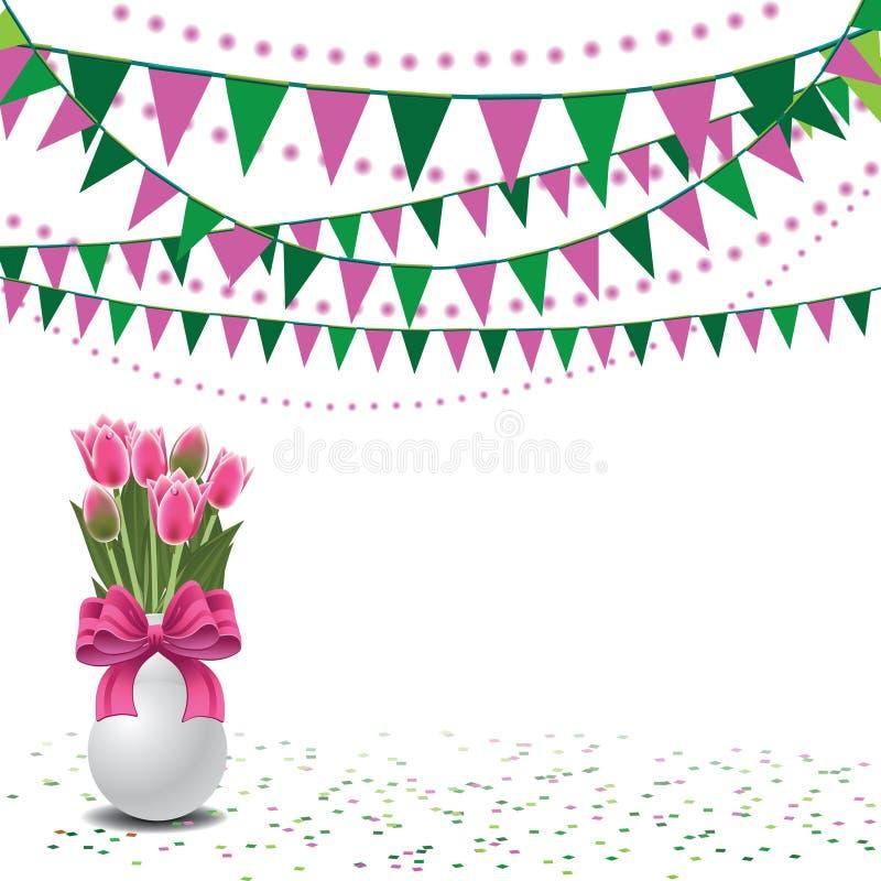 De gelukkige tulpen van de Moedersdag en bunting achtergrond royalty-vrije illustratie