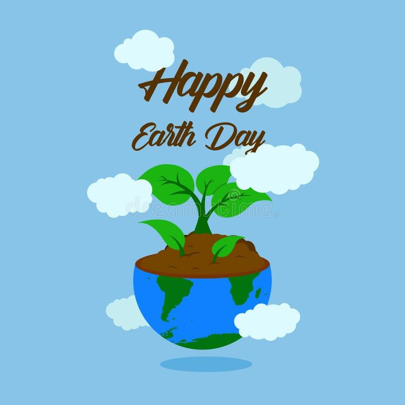 De gelukkige typografie van de aardedag met de illustratiehelft van aarde met grond en groeit rond installatie drie en wolk geluk royalty-vrije illustratie