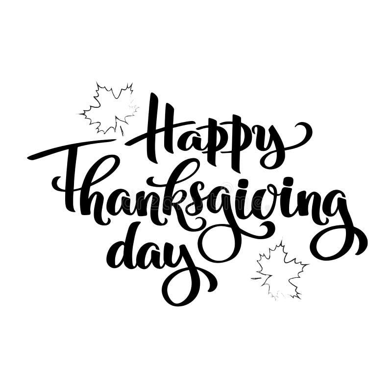 De gelukkige typografie van de thanksgiving dayherfst Hand het getrokken Van letters voorzien voor de uitnodiging van het dankzeg stock illustratie