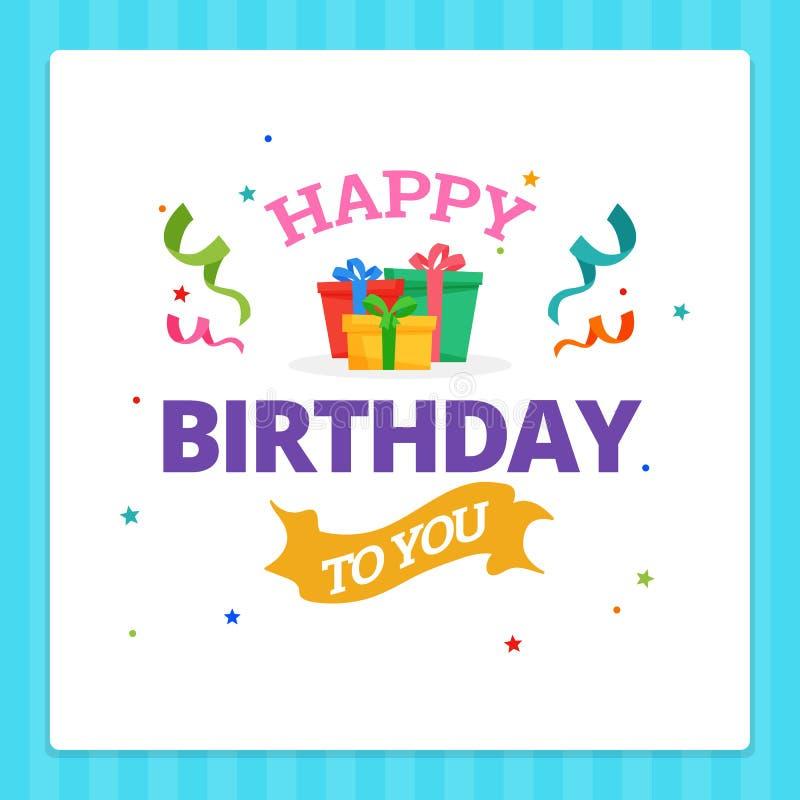 De gelukkige Typografie van de Verjaardagskaart met het Ornament van de Partijdecoratie royalty-vrije illustratie