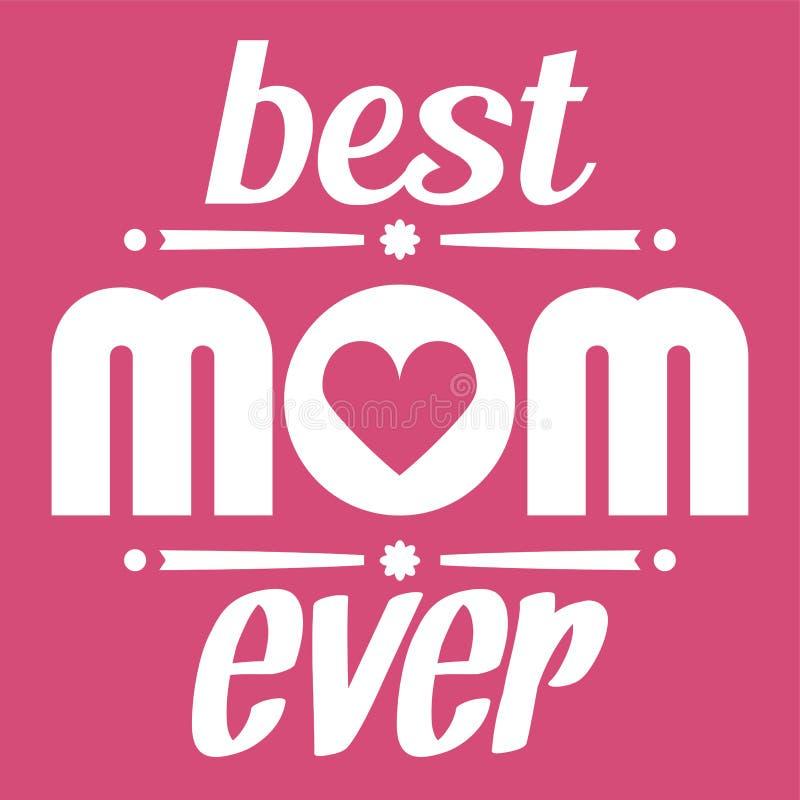 De gelukkige typografische illustratie van de Moedersdag De beste kaart van de mamma ooit gift Geïsoleerdo op roze royalty-vrije illustratie