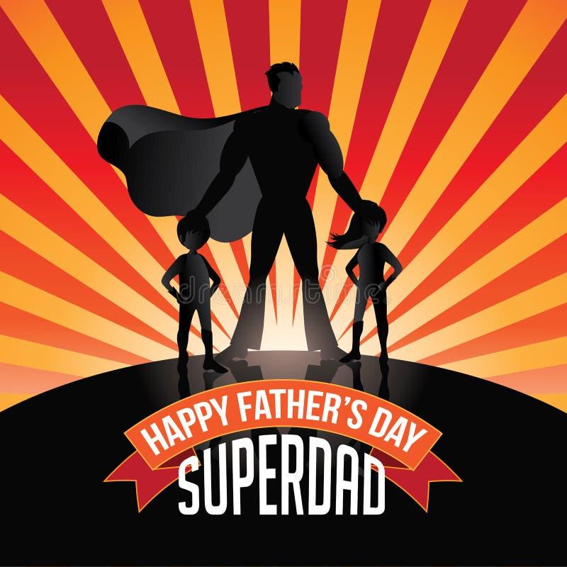 De gelukkige uitbarsting van Superdad van de Vadersdag royalty-vrije illustratie