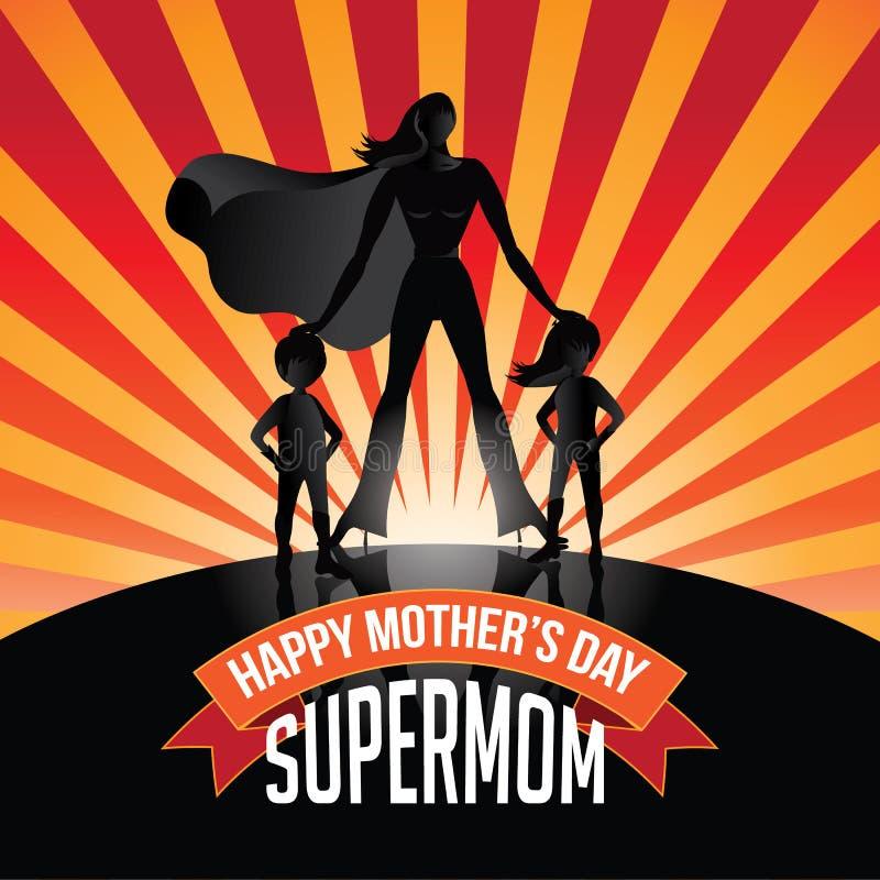 De gelukkige uitbarsting van Supermom van de Moedersdag stock illustratie