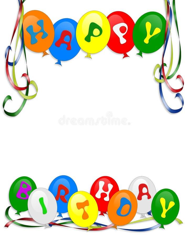 De gelukkige uitnodiging van de Ballons van de Verjaardag stock illustratie
