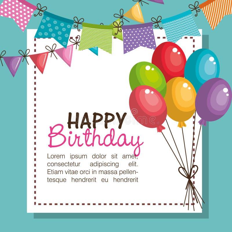 de gelukkige uitnodiging van de verjaardagspartij met ballonslucht vector illustratie