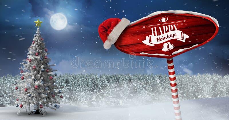 De gelukkige vakantie op Houten voorziet in het landschap van de Kerstmiswinter en Kerstmanhoed van wegwijzers met Kerstboom royalty-vrije illustratie