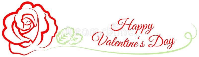 De gelukkige valentijnskaart` s dag nam vector geïsoleerde banner toe royalty-vrije illustratie