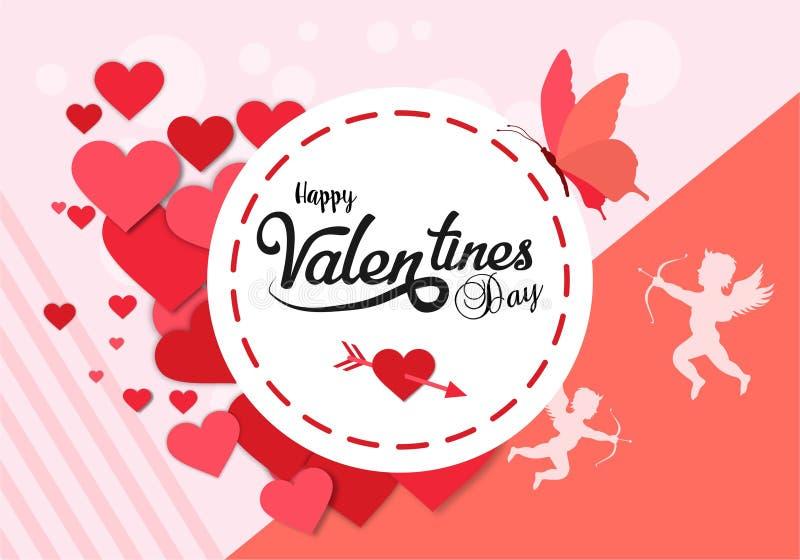 De gelukkige Valentijnskaarten ontwerpen kaart Vlakke achtergrond stock afbeeldingen