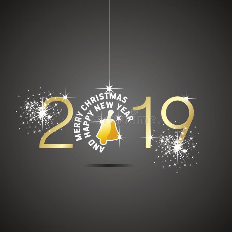 De gelukkige van de de balklok van Nieuwjaar 2019 Kerstmis zwarte achtergrond royalty-vrije illustratie
