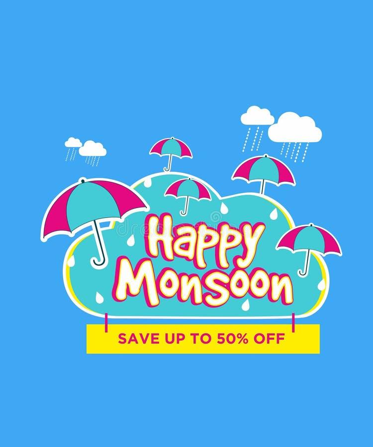 De gelukkige van de de bannerparaplu van de moessonverkoop creatieve vectorillustratie stock illustratie